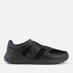 Polo Ralph Lauren Men's Cordell Leather/Suede Runner Trainers - Black/Black/Black