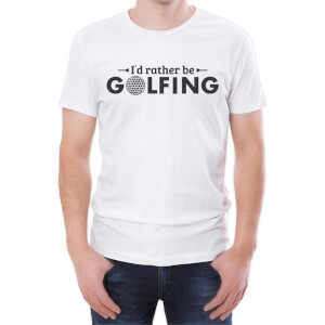 T-Shirt Homme I'd Rather Be Golfing -Blanc