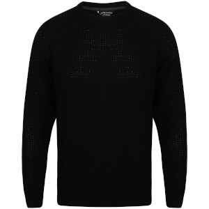 Kensington Men's Crew Neck Jumper with Waffle Stitch - Black