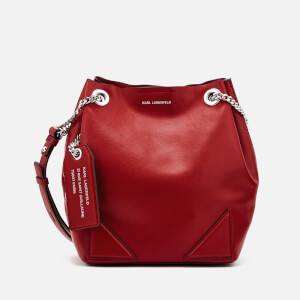 Karl Lagerfeld Women's K/Slouchy Small Drawstring Bag - Dark Pomegranate