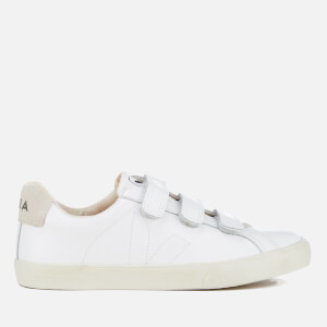 Veja Men's 3 Lock Leather Velcro Trainers - Extra White