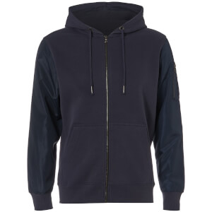 Dissident Men's Devo Contrast Sleeve Zip Through Hoody - Navy