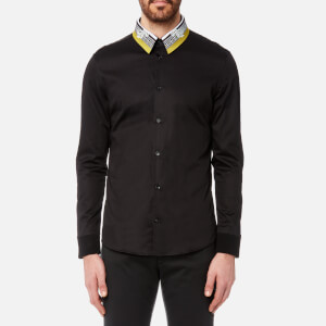 Versace Collection Men's Collar Detail Long Sleeve Shirt - Nero