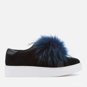 KG Kurt Geiger Women's Luxe Suede Pom Toe Slip-On Trainers - Black