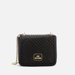 Love Moschino Women's Shiny Quilted Metallic Chain Cross Body Bag - Black