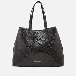 Love Moschino Women's Metallic Embossed Logo Tote Bag - Black
