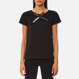 Love Moschino Women's Love Bow Neck T-Shirt - Black