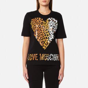 Love Moschino Women's Leopard Heart Logo T-Shirt - Black