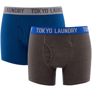 Tokyo Laundry Men's Harleton 2 Pack Boxers - Estate Blue/Dark Grey Marl