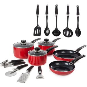 Morphy Richards 970041 Equip 5 Piece Pan Set with 9 Piece Tool Set - Red