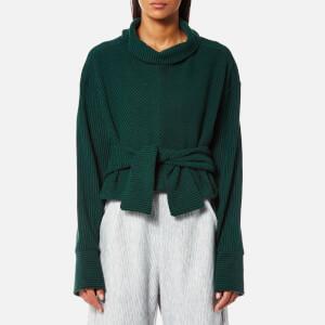 House of Sunny Women's Volume Extended Sleeve Rib Jumper - Organic Green