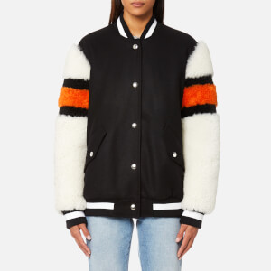 MSGM Women's Wool Felt with Sport Shearling Jacket - Black