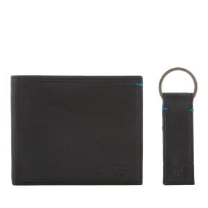 Original Penguin Men's Leather Wallet and Keyring Set - Black