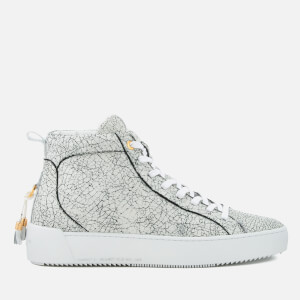 Android Homme Men's Alfa Cracked Leather Mid Top Trainers - White