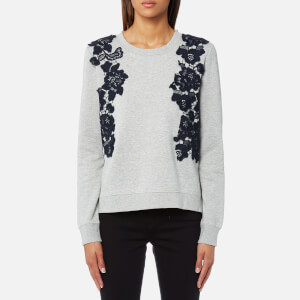 Maison Scotch Women's Crew Neck Sweatshirt with Lace Applique - Grey Melange