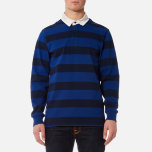 Joules Men's Onside Striped Rugby Top - Deep Blue Stripe