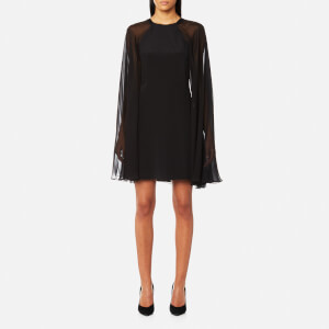 Karl Lagerfeld Women's Silk Dress with Sheer Cape - Black