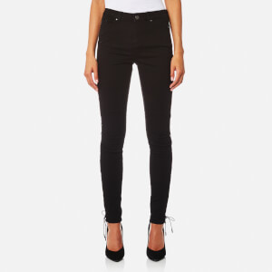 Karl Lagerfeld Women's Skinny Denim Jeans with Lacing Details - Black