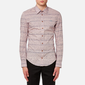 Vivienne Westwood MAN Men's Stretch Poplin Isabel Print Classic Shirt - Pink