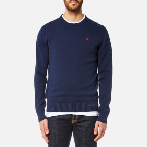 Hackett Men's Cotton Crew Neck Logo Jumper - Navy