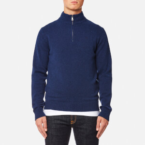 Hackett Men's Lambswool Quarter Zip Jumper - Ink Melange