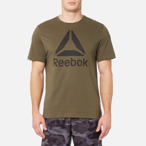 Reebok Men's Stacked Logo Short Sleeve T-Shirt - Army Green