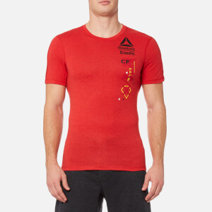 Reebok Men's CrossFit Poly Blend Short Sleeve T-Shirt - Primal Red