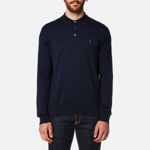 Polo Ralph Lauren Men's Pima Cotton Long Sleeve Polo Shirt - Hunter Navy