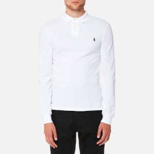 Polo Ralph Lauren Men's Slim Fit Basic Mesh Long Sleeve Polo Shirt - White