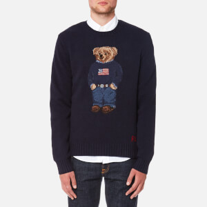 Polo Ralph Lauren Men's Bear Logo Crew Knitted Jumper - Navy