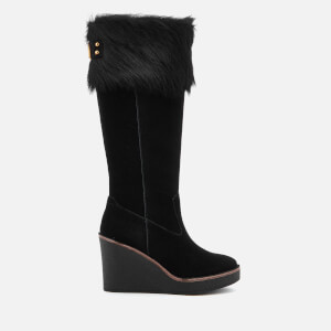 UGG Women's Valberg Sheepskin Cuff Suede Thigh High Boots - Black