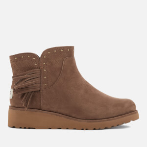 UGG Women's Cindy Leather Tassle Ankle Boots - Dark Chestnut