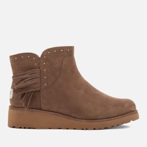 UGG Women's Cindy Leather Tassle Ankle Boots - Dark Chestnut