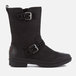 UGG Women's Jenise Waterproof Leather Biker Boots - Black