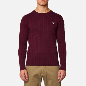 GANT Men's Cotton Cable Knitted Jumper - Purple Wine