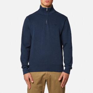 GANT Men's Sacker Rib Half Zip Sweatshirt - Marine Melange