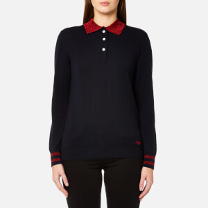Maison Kitsuné Women's Merino Shiny Collar Polo Shirt - Navy