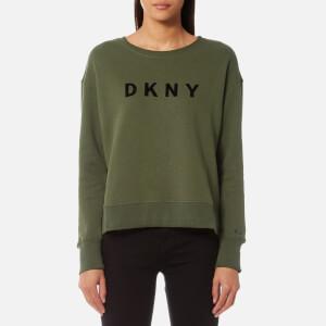 DKNY Sport Women's Boxy Cropped Logo Pullover Sweatshirt - Ivy