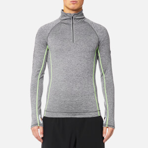 Superdry Sport Men's Sport Athletic 1/2 Zip Henley Top - Mid Grey Grit