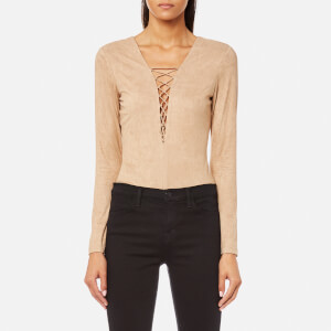T by Alexander Wang Women's Stretch Faux Suede Lace Up Bodysuit - Camel