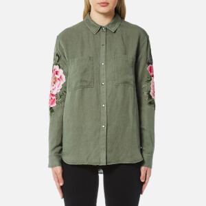 Rails Women's Marcel Floral Patch Shirt - Sage with Pink Floral Patches
