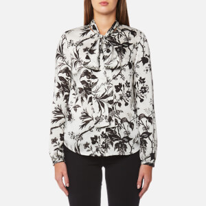 McQ Alexander McQueen Women's Knotted Neck Blouse - Greyscale