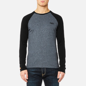 Superdry Men's Orange Label Long Sleeve Baseball T-Shirt - Twilight Blue Grit/Black