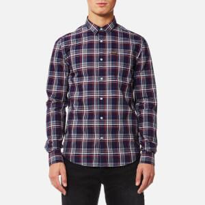Superdry Men's Raw Oxford Long Sleeve Washbasket Shirt - Holywell Navy Check