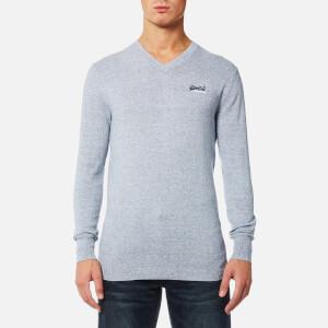 Superdry Men's Orange Label V Neck Knitted Jumper - Egret