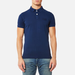 Superdry Men's Vintage Destroyed Short Sleeve Pique Polo Shirt - Boston Blue
