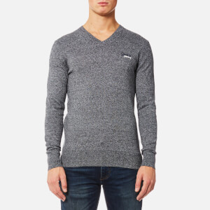 Superdry Men's Orange Label V Neck Knitted Jumper - Steel Twist