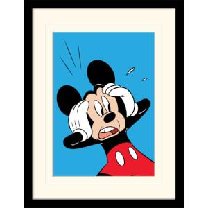 Affiche Encadrée Mickey Mouse Choqué - 30 cm x 40 cm