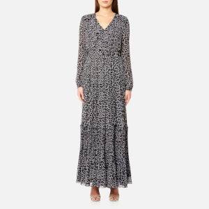 Michael Michael Kors Women's Leopard Plaid Maxi Dress - Black