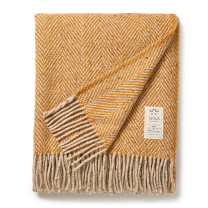 Avoca Heavy Herringbone Throw - Mustard - 142 x 183cm